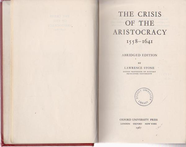 The Crisis of the Aristocracy 1558-1641