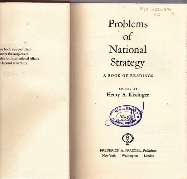Problems of National Strategy: A Book of Readings