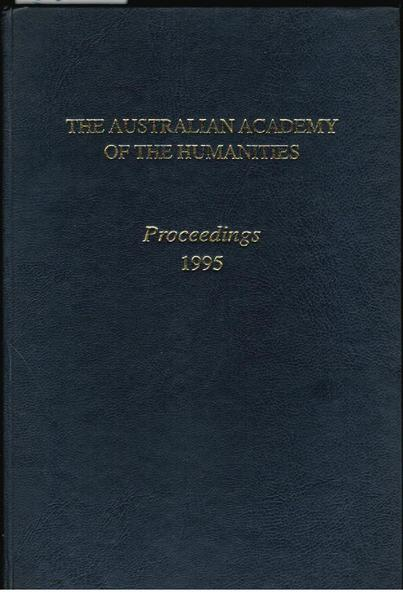 The Australian Academy of the Humanities: Proceedings 1995