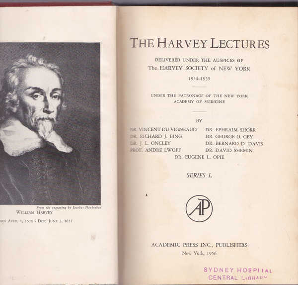 The Harvey Lectures : Delivered Under the Auspices of the Harvey Society of New York 1954-1955  Series L